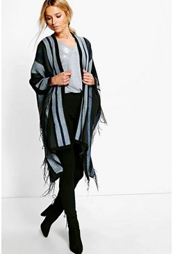 Florence Colour Block Tassel Poncho