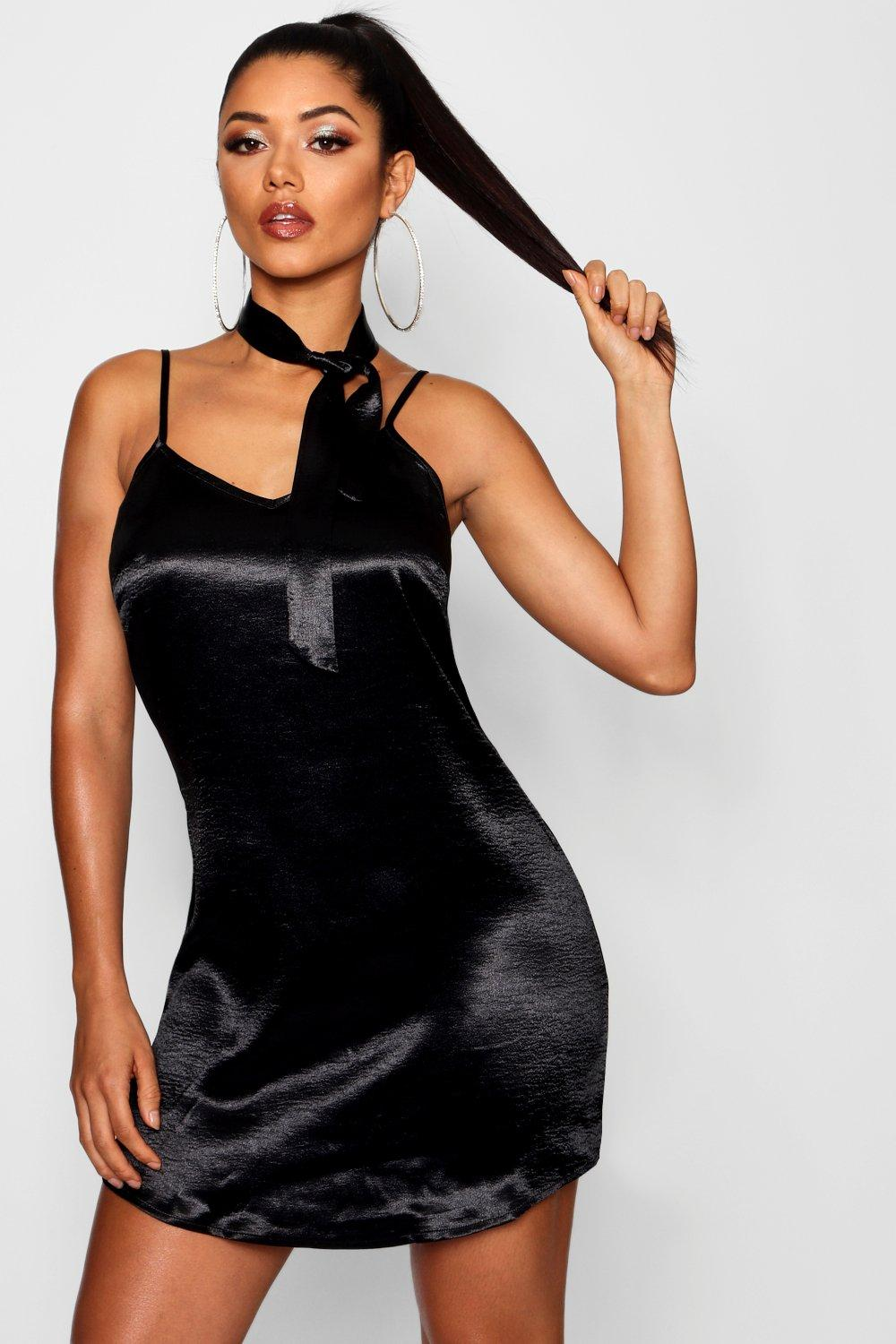 Tie Neck Satin Slip Dress  black