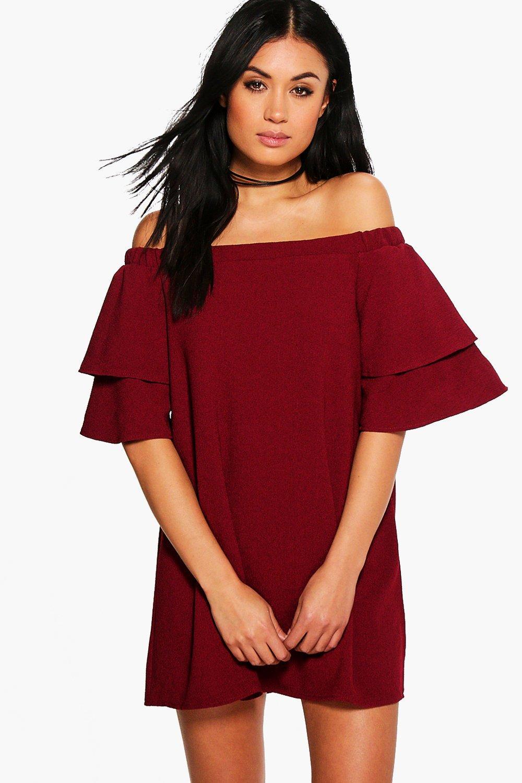boohoo Off Shoulder Ruffle Shift Dress - berry