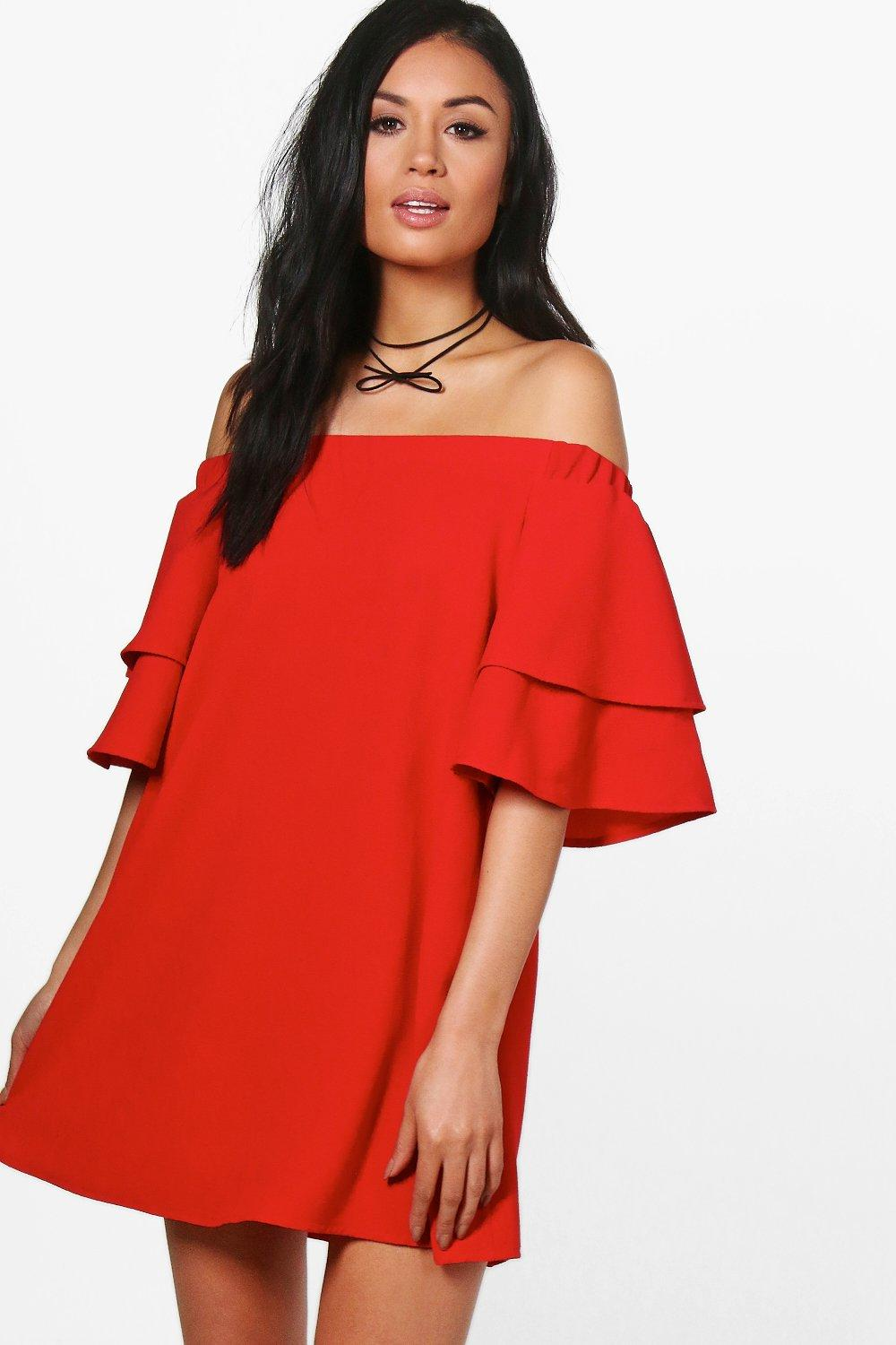 Carmen Off Shoulder Ruffle Shift Dress