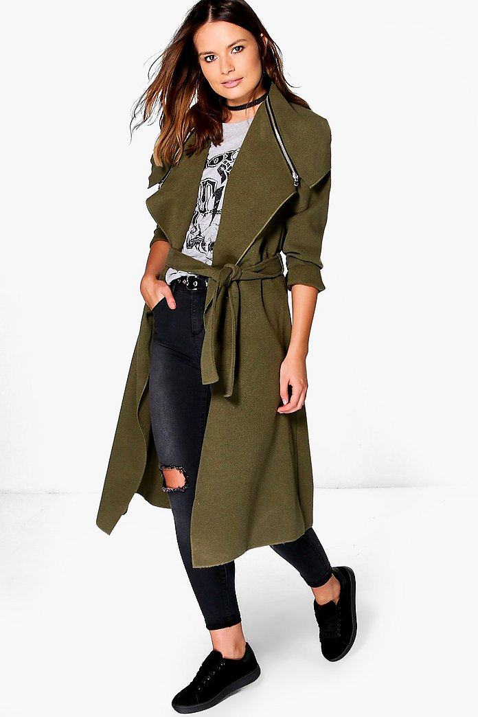 Amber Zip Detail Collar Belted Coat
