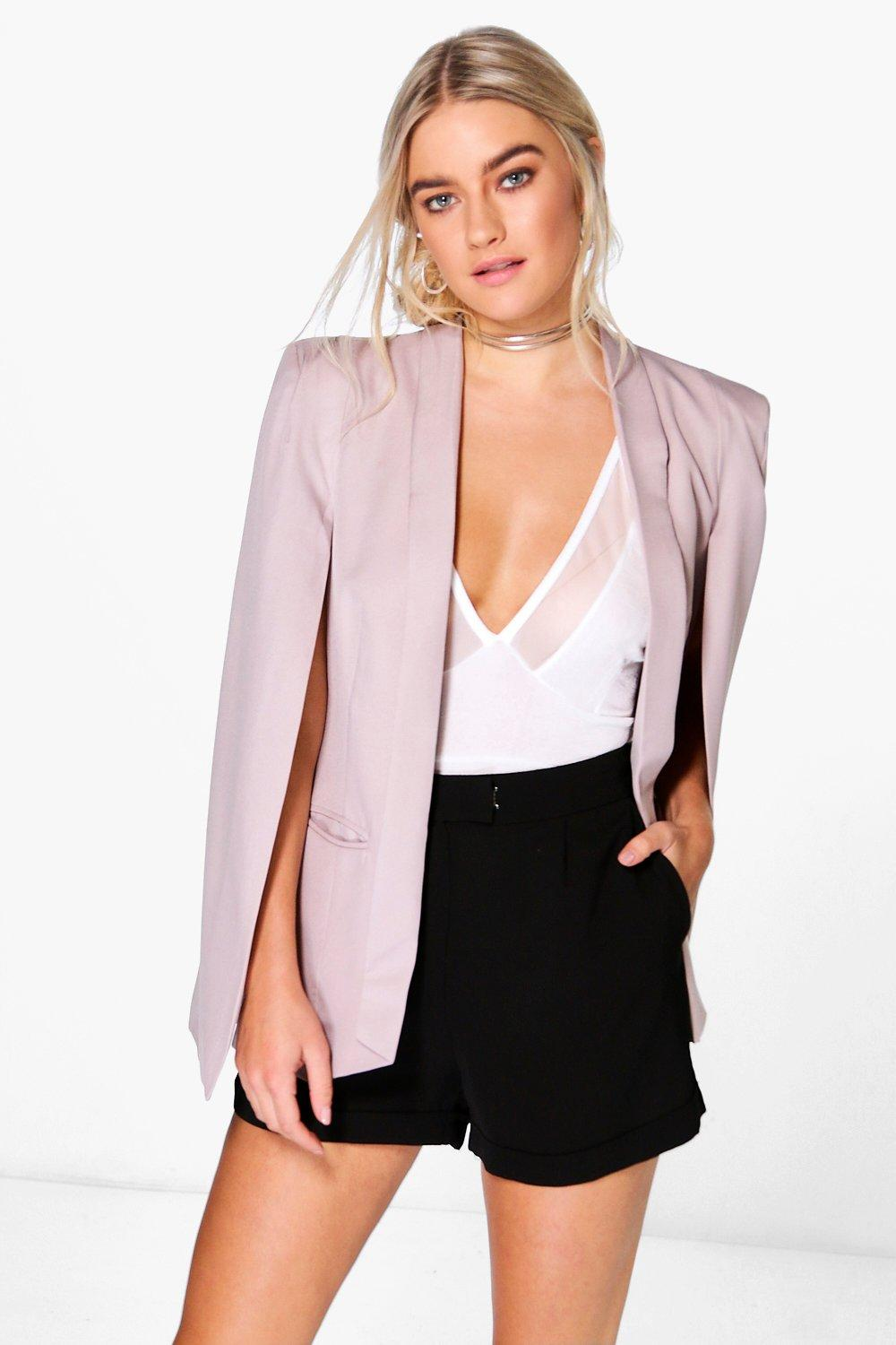 Lily Woven Tailored Cape With Lapel