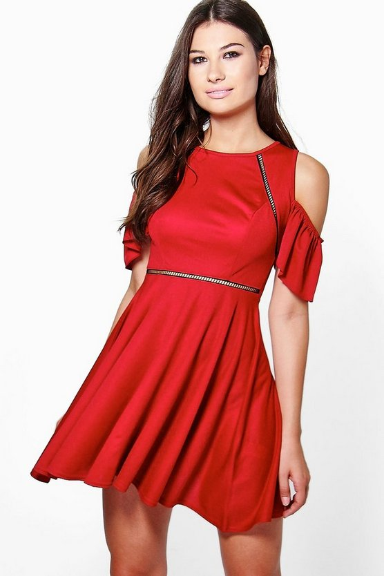 Em Cold Shoulder Ladder Trim Skater Dress