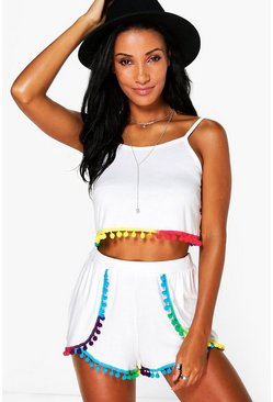 Phoebe Multi Colour Pom Pom Cami And Short Co-ord