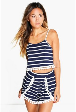 Saskia Stripe Cami and Short Pom Pom Co-ord