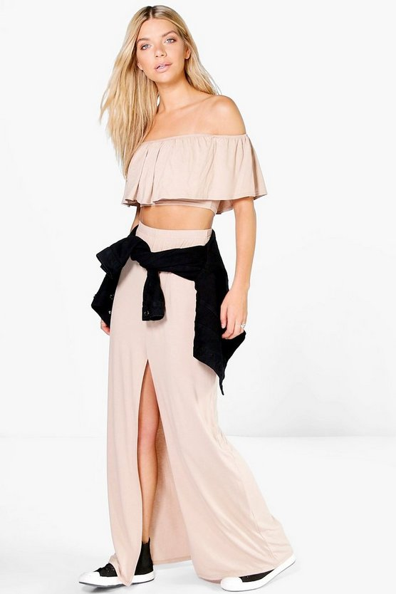 Layla Ruffle Bandeau Top And Maxi Skirt Co-ord