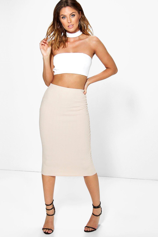 Choker Bandeau Crop And Midi Skirt Co-ord - stone