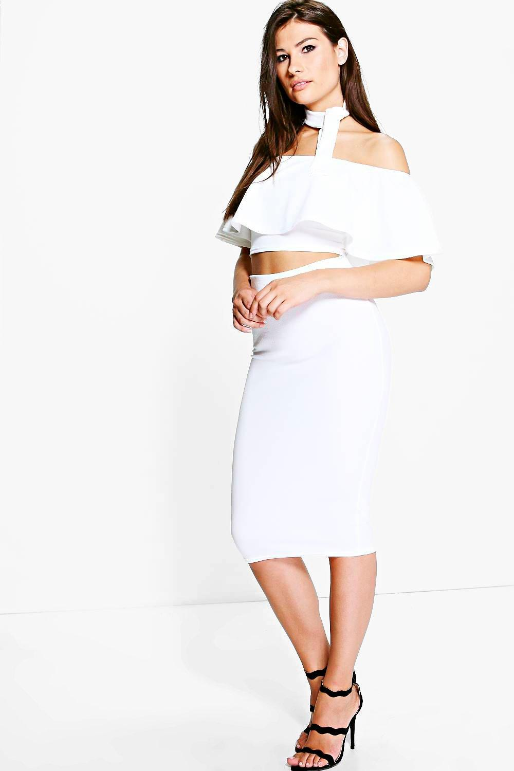 Rose Neck Tie Top And Midi Skirt Co-ord