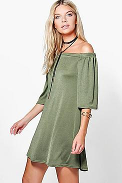 Hillary Off The Shoulder Shift Dress