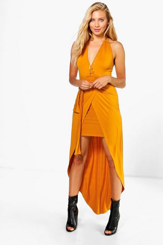 Elle Wrap Front Halter Skirted Maxi Dress