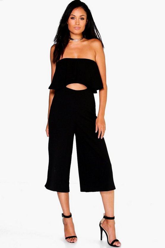 Ria Peplum Bandeau Cut Out Culotte Jumpsuit