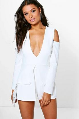Lois Blazer Style Cut Out Shoulder Playsuit
