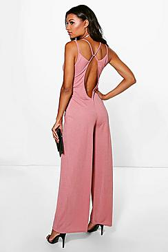 Julie Plunge Open Back Wide Leg Jumpsuit