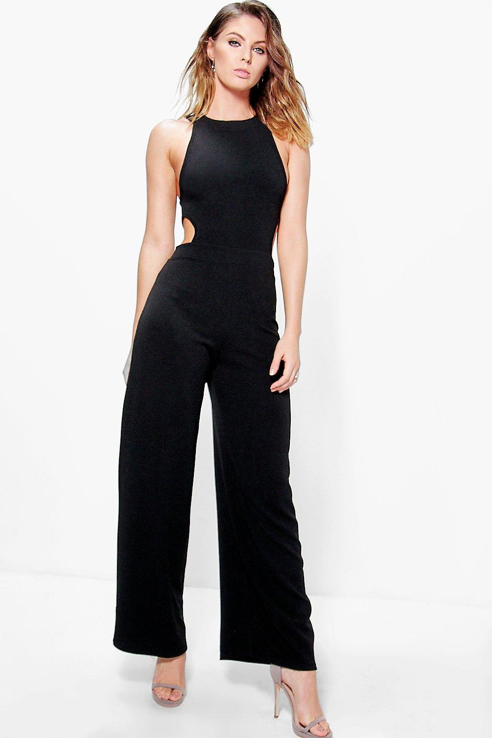 Nia High Neck Cut Out Side Jumpsuit