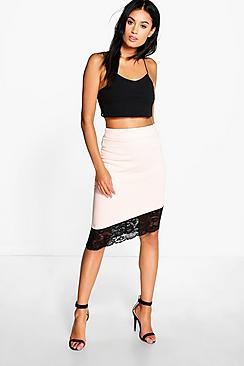 Minnie Asymetric Lace Trim Midi Skirt