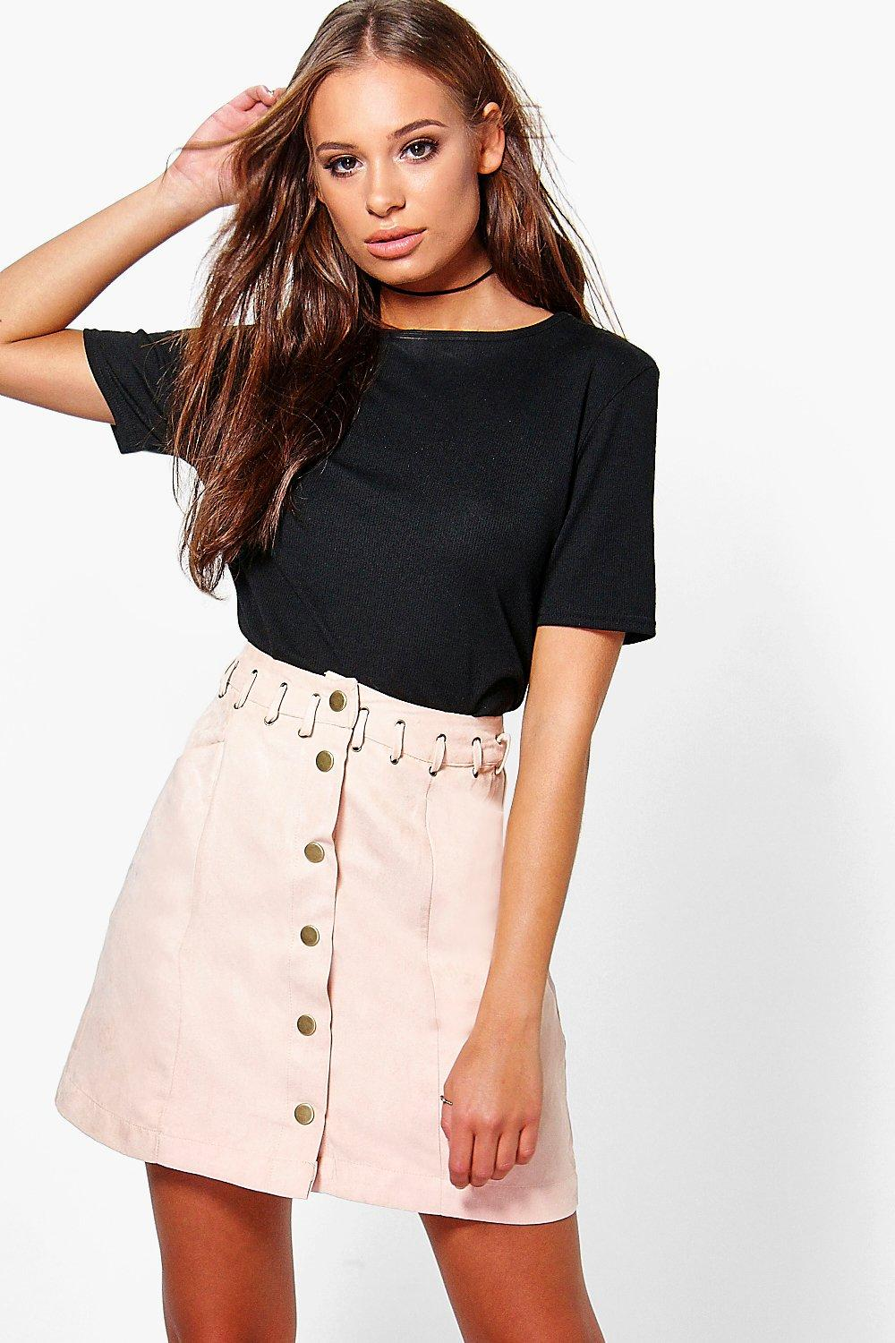 Myra Lace Up Waistband Suedette Mini Skirt