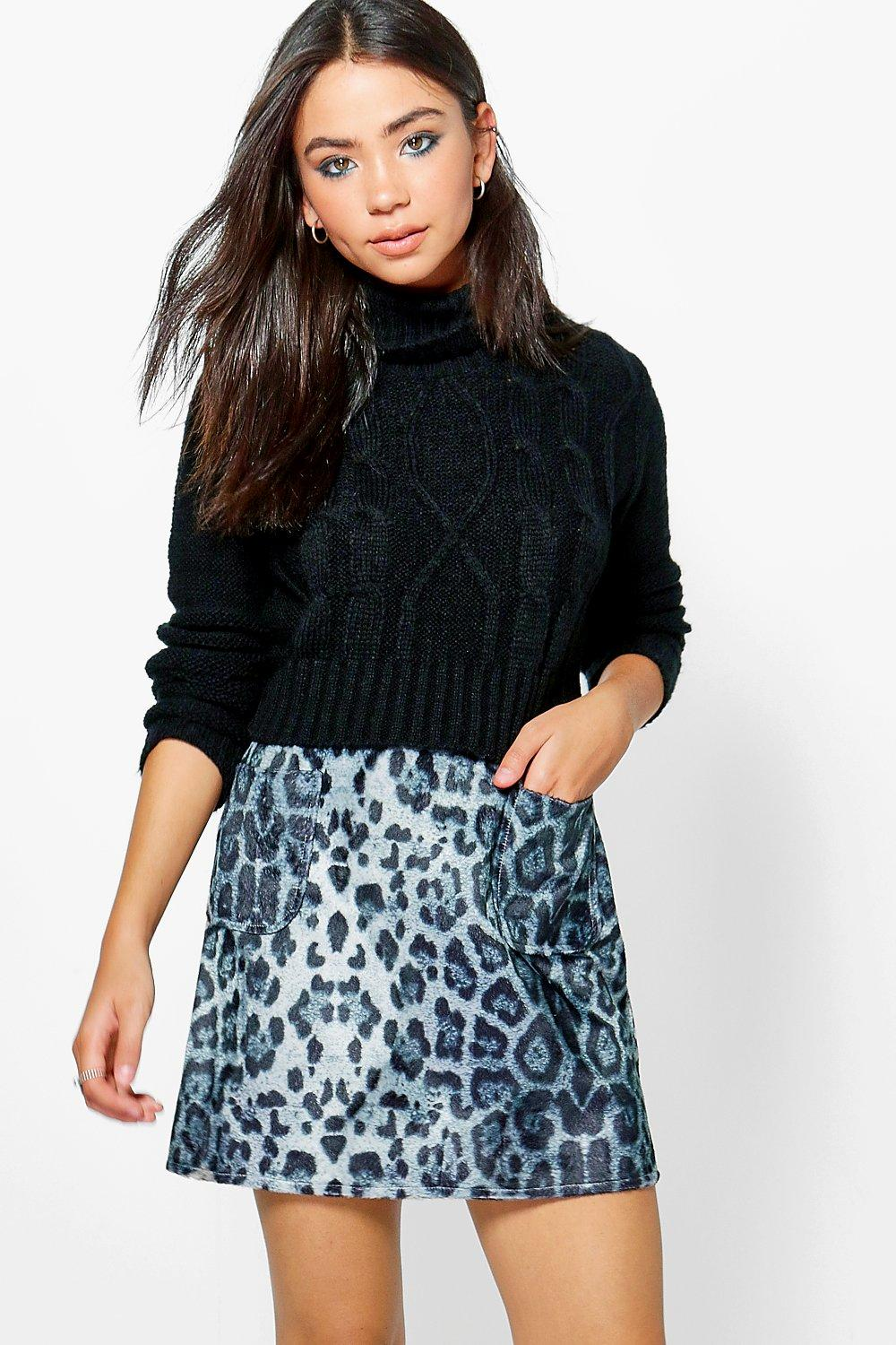 Textured Woven Leopard A Line Mini Skirt  grey