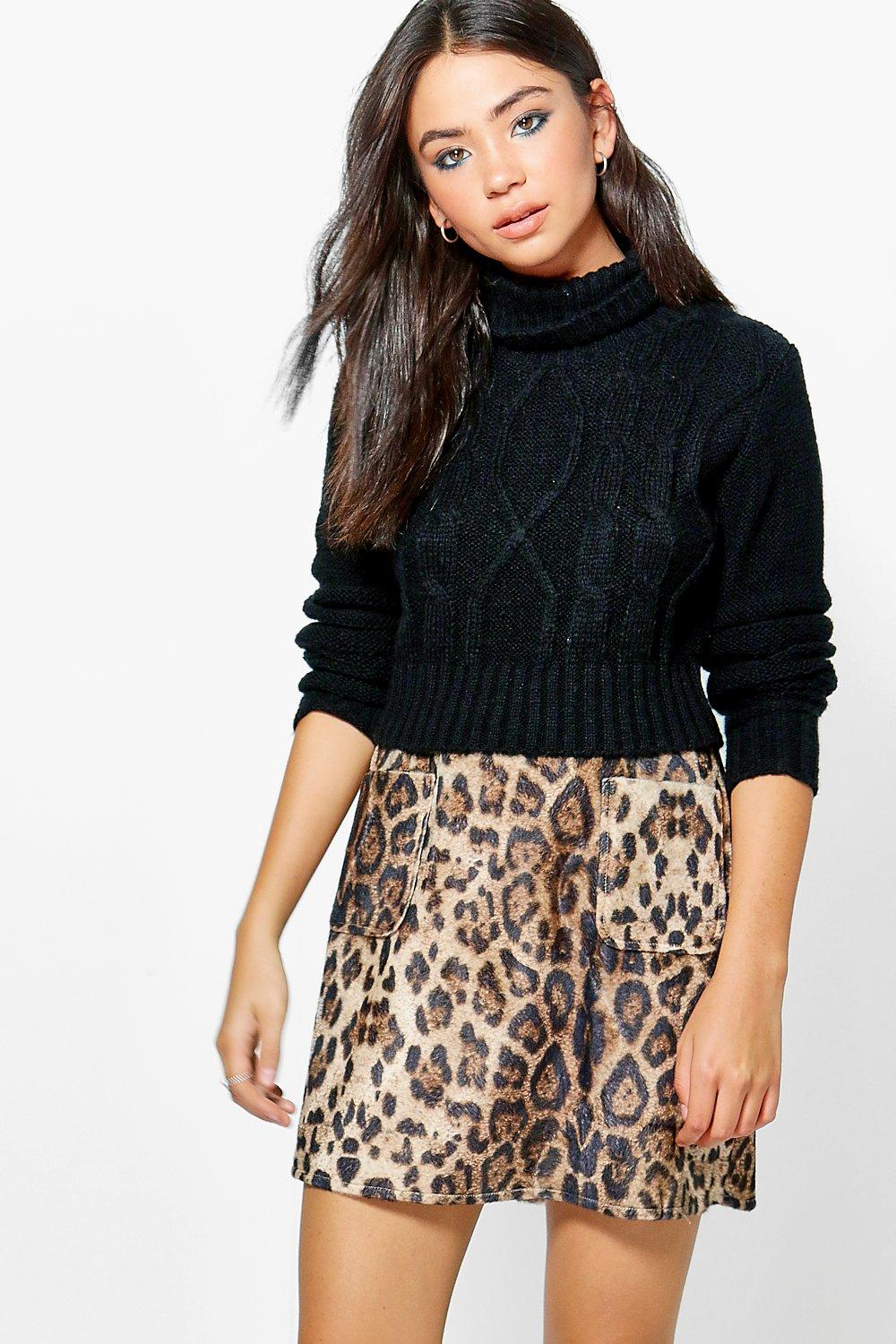 Mischa Textured Woven Leopard A Line Mini Skirt