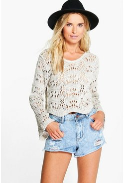 Amber Bell Sleeve Crochet Crop Jumper