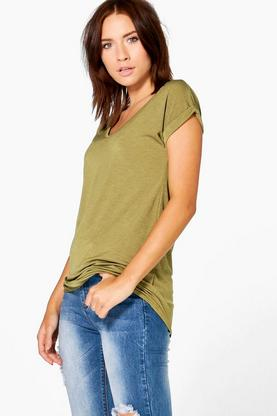 Lisa V Neck Oversized Slub T-Shirt