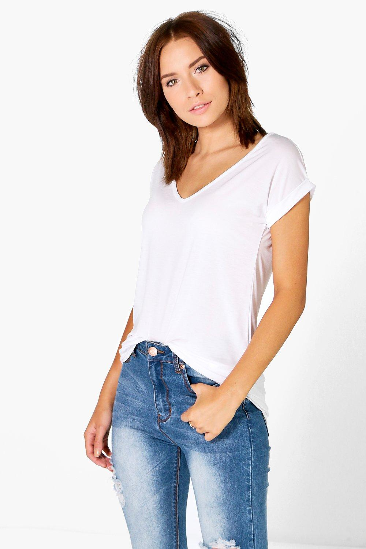 V Neck Oversized Slub T-Shirt - white