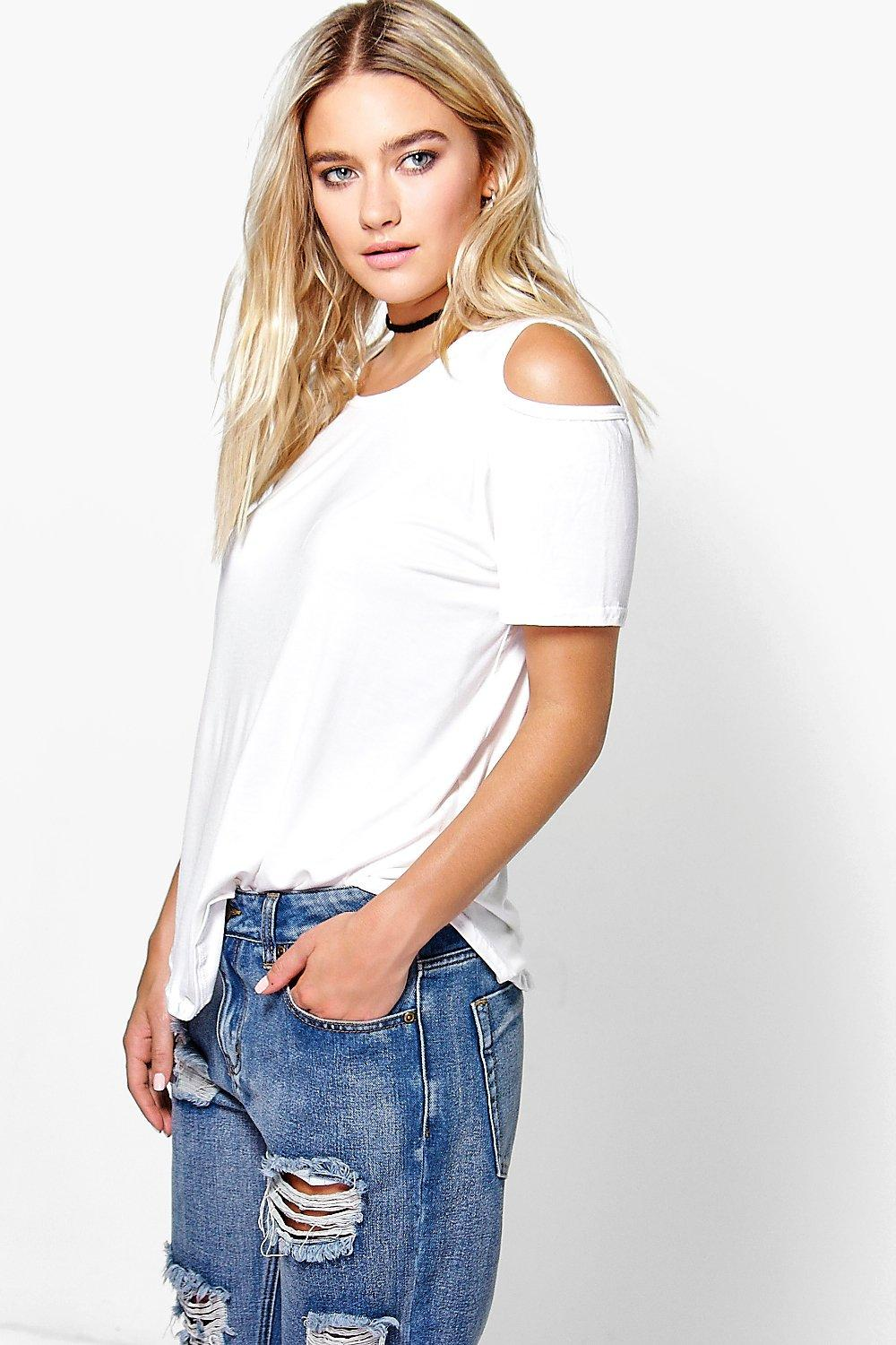 Flora Cold Shoulder Curved Hem Top