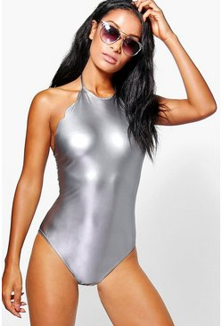 Cara Metallic Scallop Edge Halterneck Bodysuit
