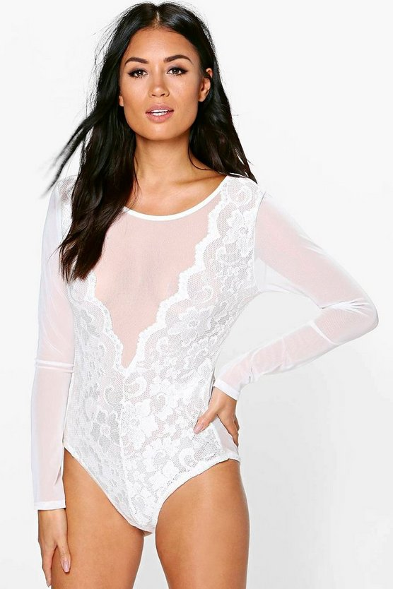 Mandy Lace Mesh Long Sleeve Body