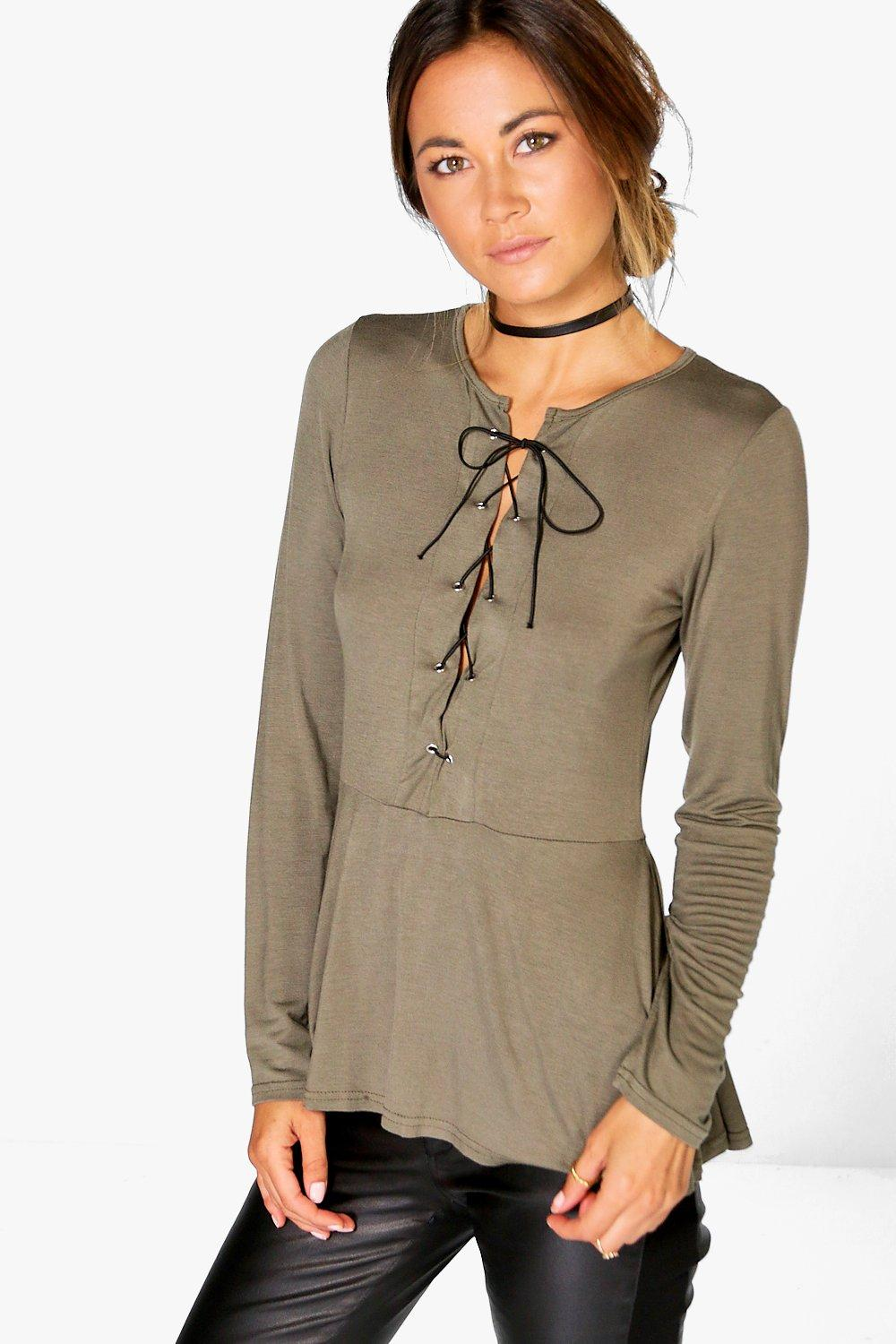 Patrice Lace Up Peplum Top at boohoo.com