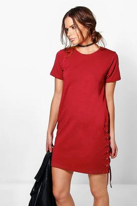 Amelia Lace Up Side Shift Dress