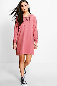 Rosa Hoodie Lace up Sweat Dress