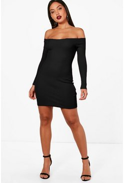 Lacey Rib Off Shoulder Bodycon Dress