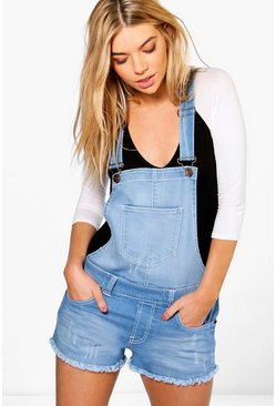 Claire Frayed Edge Denim Dungaree Shorts