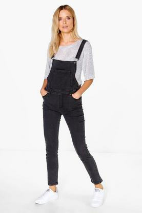 Lola Charcoal Denim Dungarees