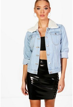 Sally Slim Fit Borg Collar Denim Jacket