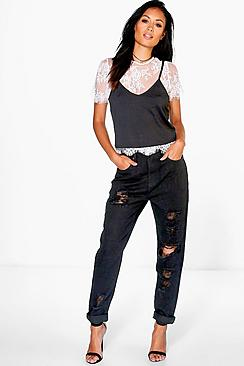 Sophie High Waist Distressed Hem Jeans