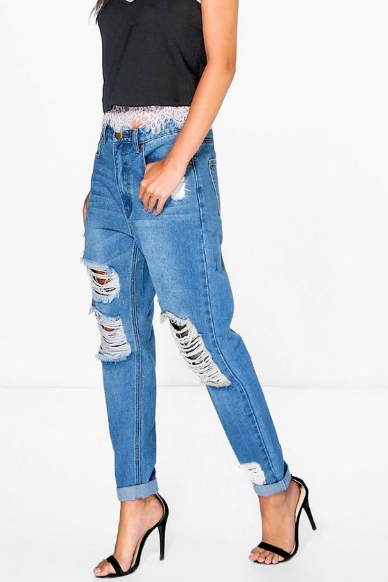 Hatty Boyfriend-Jeans in Used-Optik mit hoher Taille