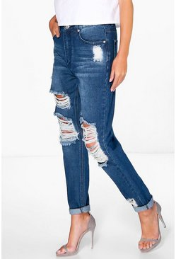 Hatty High Waist Distress Boyfriend Jeans