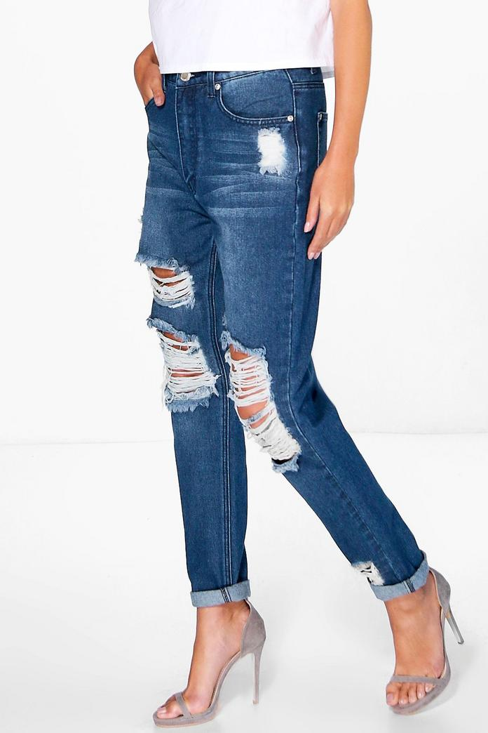 hatty high waist distress boyfriend jeans boohoo. Black Bedroom Furniture Sets. Home Design Ideas