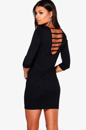 Niamh Ribbed Strap Back Bodycon Dress