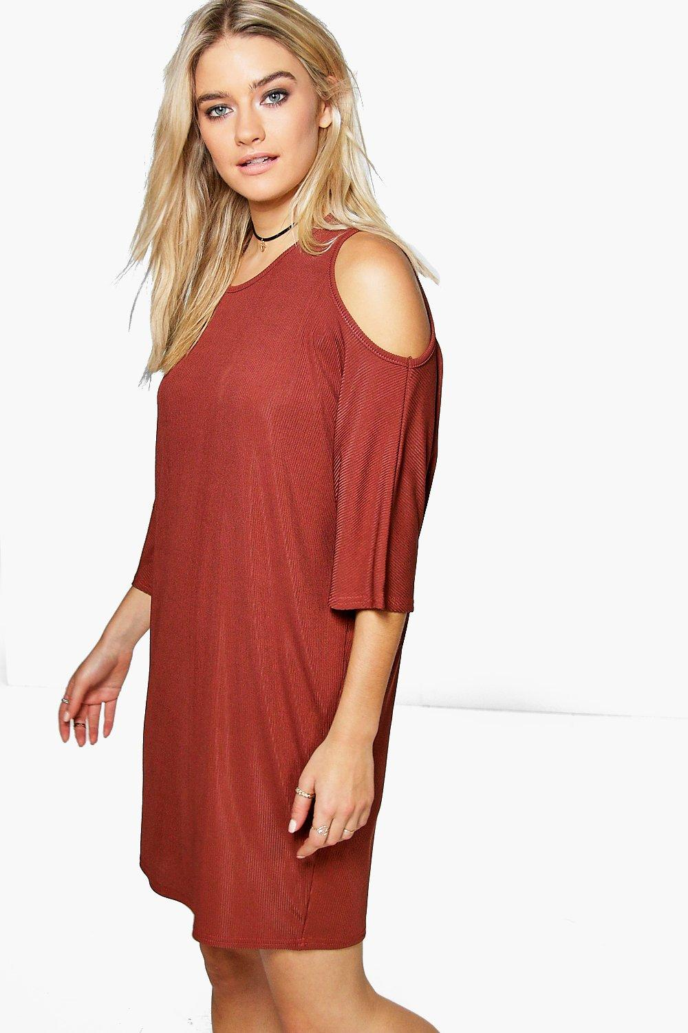 Gia Cold Shoulder Drape Shift Dress