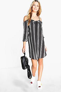 Keira Flute Sleeve Stripe Shirt Dress