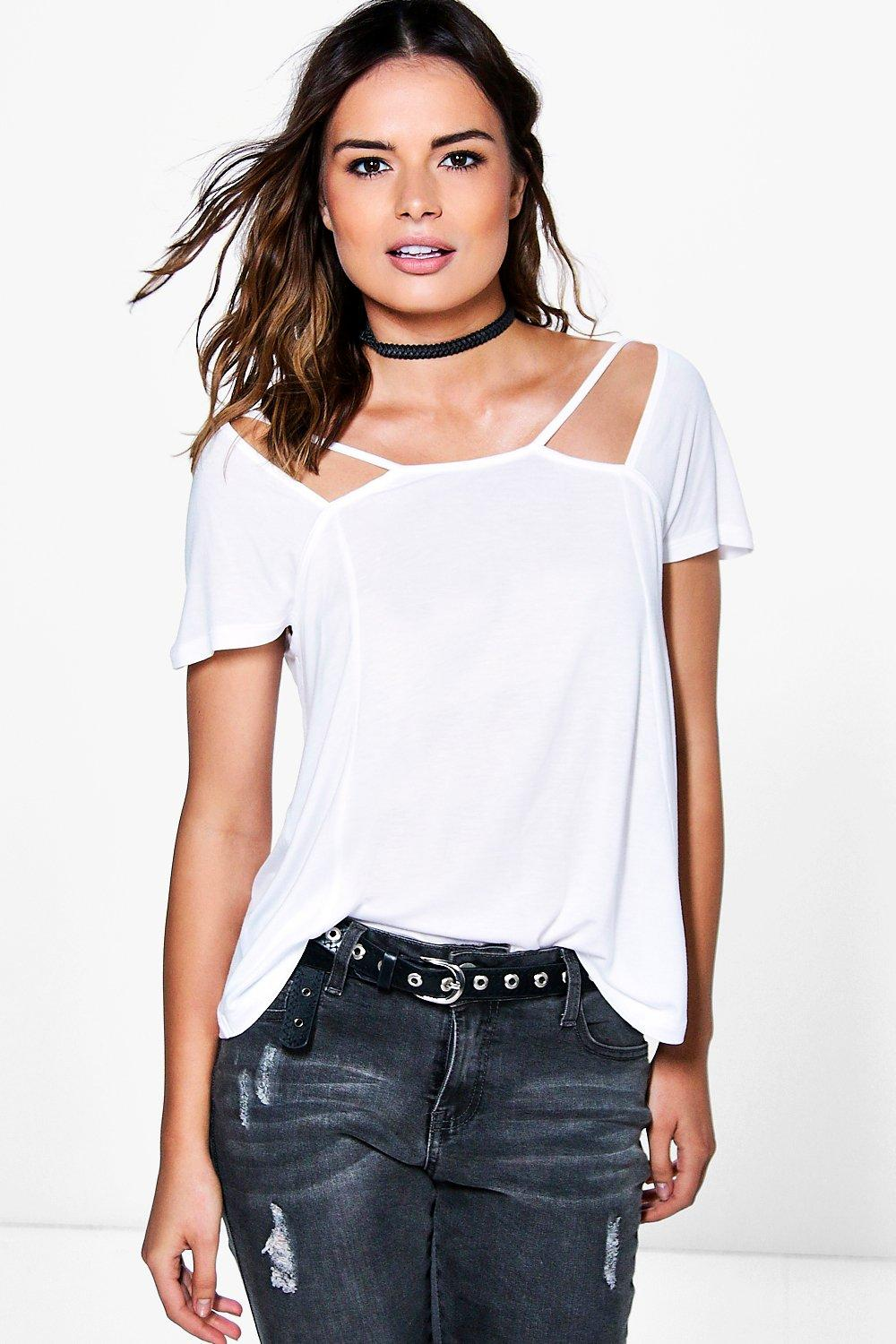 Lola Cut Out Neck Strappy T-Shirt