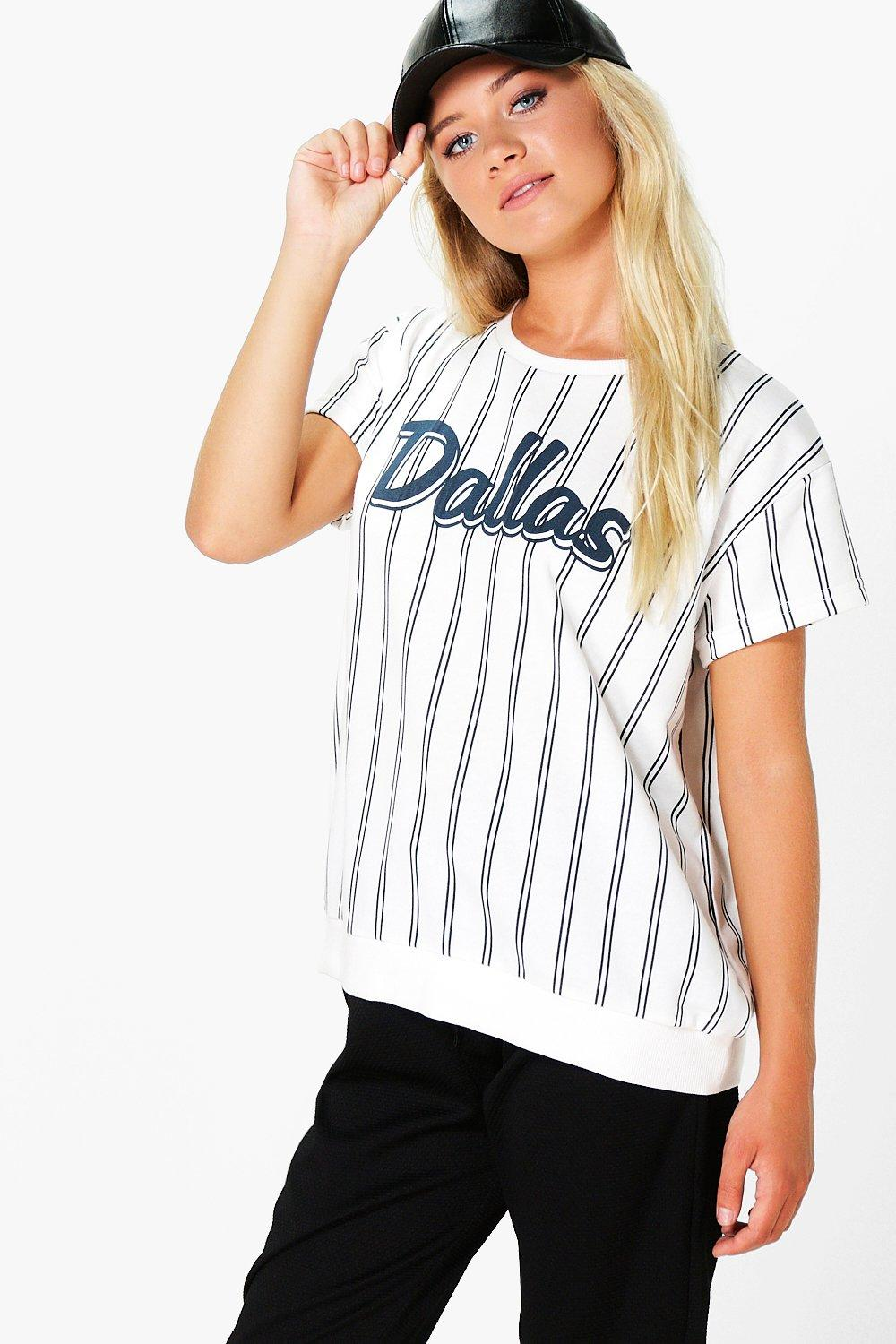 Roxy Stripe Slogan Short Sleeve Sweat Shirt