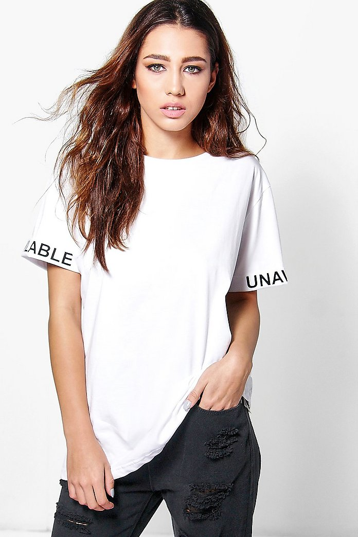 Annie Slogan Sleeve T-Shirt