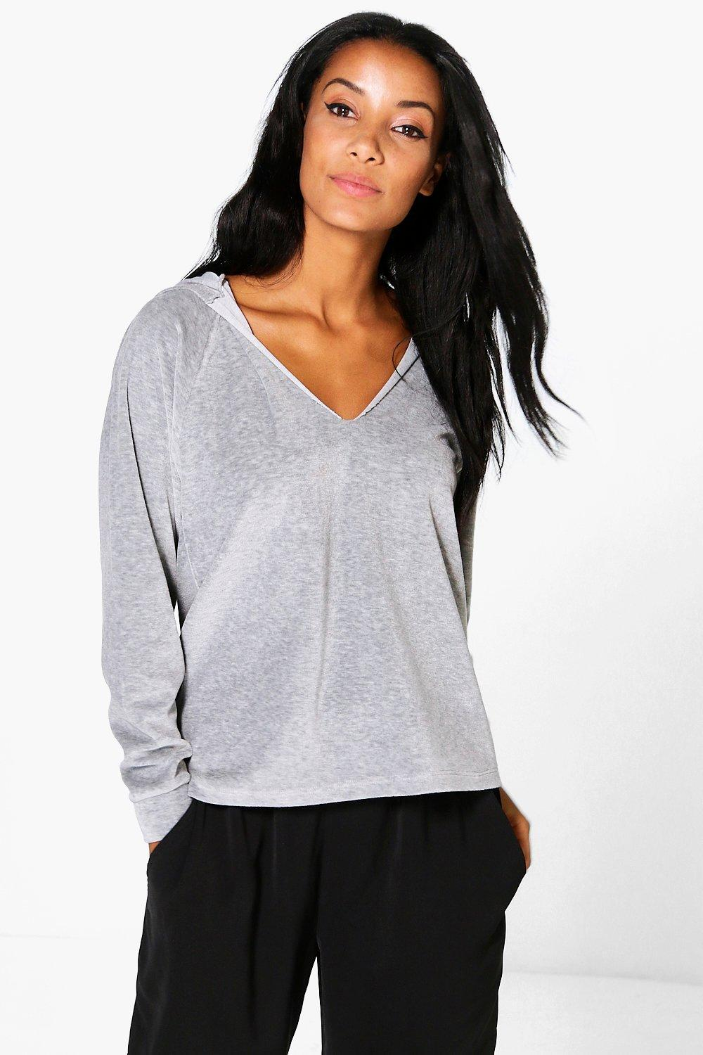 Bella Velour V Neck Hoody