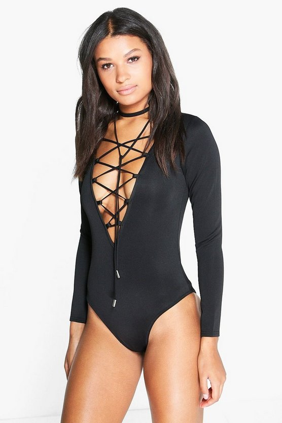 Mia Scuba Lace Up Plunge Bodysuit with Choker