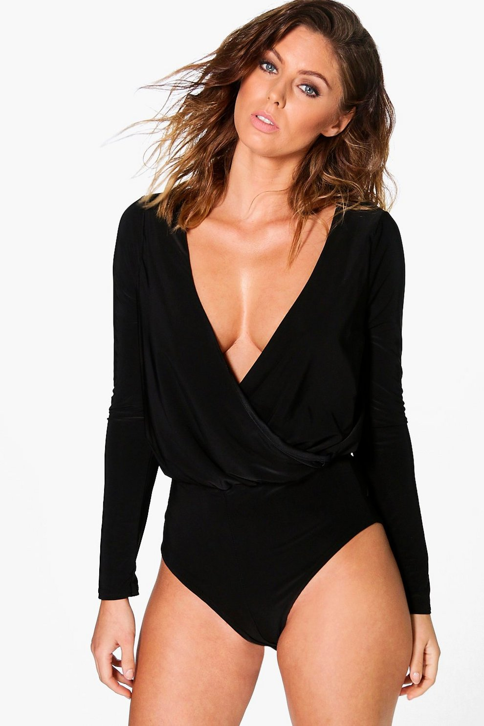 For Cheap Cheap Online New Styles Sale Online Boohoo Wrap Long Sleeve Bodysuit Get Cheap Sale Factory Outlet vceF4J