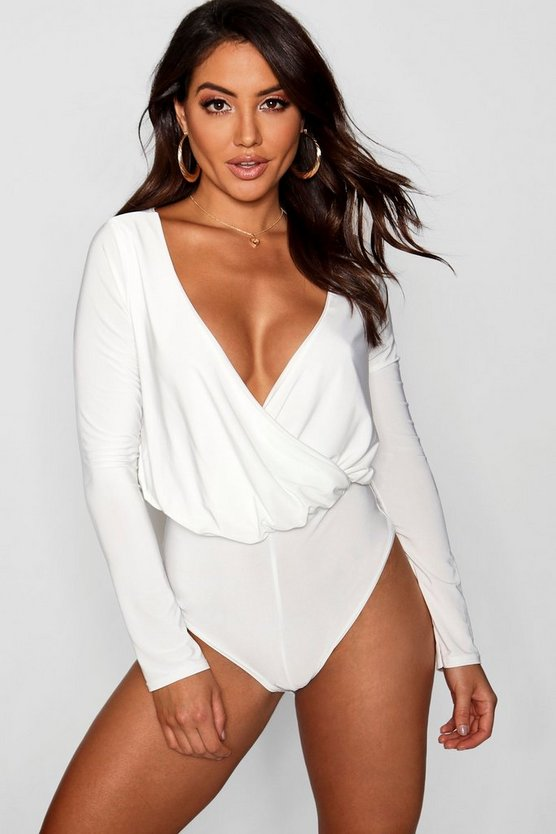 Long Sleeve Wrap Front Bodysuit
