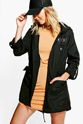Natalie Military Badge Rain Mac